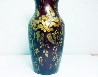 Glass Vase, Burgundy, Hand Painted, Folk Art, Floral Design, Metallic Gold, Hand Painted Vase,  Burgundy Vase, Home Decor, Flower Vase.