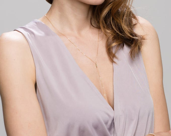 Simple Chain Lariat with Tiny Crystal and Gem Stone - Super Dainty Y necklace in 14K Gold filled or Sterling Silver  EL025