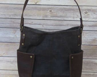 PrimusCraft IN STOCK genuine brown leather and waxed canvas handbag shoulder bag bucket bag with Cordura nylon lining