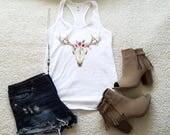 Cow skull tank top for women girls ladies graphic shirt for women gift