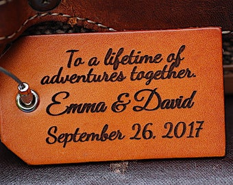 Personalized Leather Luggage Tag Couples Gift, Anniversary Gift with Custom Names, Wedding & Valentine's Day Gifts, Lifetime of Adventure,