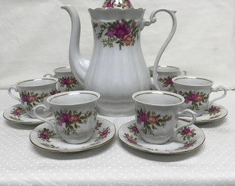Vintage Crystal Clear Porcelain Tea Pot Set Yellow Deep Pink Roses Poland