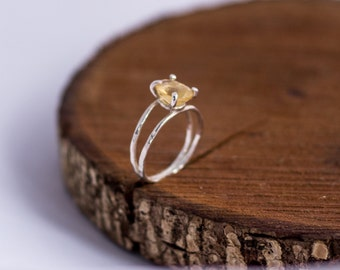 Golden Citrine Ring Sterling Silver, Stacking Ring, Citrine Gemstone, November Birthstone Ring, Delicate Promise Ring, Statement Ring, Gift