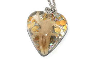 Skull Necklace Resin Skull Jewelry Holographic Gold and Silver Statement Pendant ON SALE