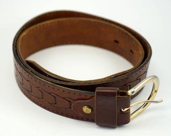 Italian Vero Cuoio retro genuine brown leather Ladies embossed western waistband
