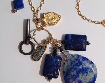 Lots of Lapis Long Necklace Cobalt Blue Goodies Fun Jewelry Ultramarine Blue