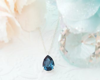 Sapphire Necklace, Swarovski Blue Montana Crystal Teardrop Silver Necklace, Flower Charm, September Birthstone Gift, N3001