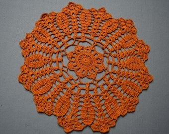 Table decoration, lace doilie, table decoration, crocheted place mat, center piece, doily tablecloth, table runner, napkin,orange