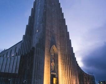 Hallgrimskirkja - Iceland - Reykjavik - Cityscape - Photography - Church - Christian - Sunset - Architecture - Skyline - Art - Large Format