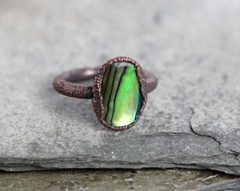 Abalone Ring Electroformed Copper Ring Shell Ring Green Ring Blue Ring Ocean Jewelry Beach Girl Mermaid Ring