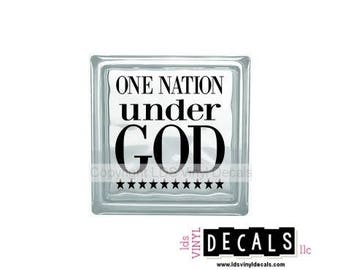 One Nation under GOD - Patriotic and Military Vinyl Lettering for Glass Blocks - USA Decals