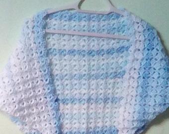 Blue White Shawlette, Blue White Shawl, Blue White Wrap, Crocheted Shawl, Wrap Shawl, Triangle Shawl, Yarn Shawl Wrap, Wool Shawl Wrap
