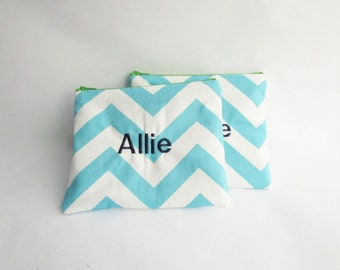 Set of 2 - Personalized Chevron Pouch with initials - Monogrammed Makeup bag - Bridesmaid clutches- Small