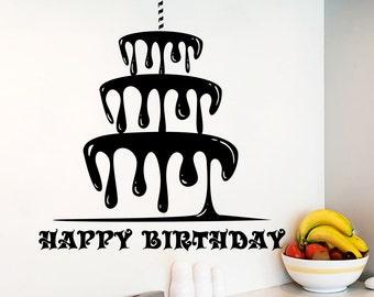 Wall Decals Happy Birthday Lettering Birthday Cake Decal Holiday Sticker Interior Design Art  Home Vinyl Nursery Decor Mural (MA215)