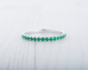 1.8mm wide Natural Emerald Half Eternity stacking ring  in white gold or Silver - stacking ring - wedding band - handmade engagement ring