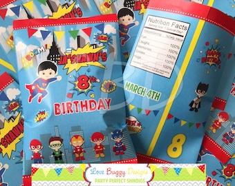 "Superhero Treat Bag Printable, Candy Bag, Chip Bag, Party Bags Travel   Style 37   Any Age   4.5"" x 7""- YOU PRINT"