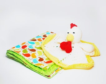 Rooster Baby Blanket Set - Rooster Lovey and Baby Blanket Set - Rooster Lovey Set - Baby Blanket Set - Baby Gift Set