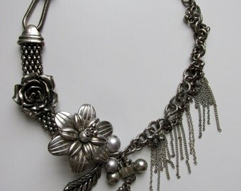Silver Multi-Chain & Flower Necklace
