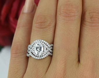 2 ctw oval twisted halo ring 3 band wedding set engagement ring man made - Three Band Wedding Ring
