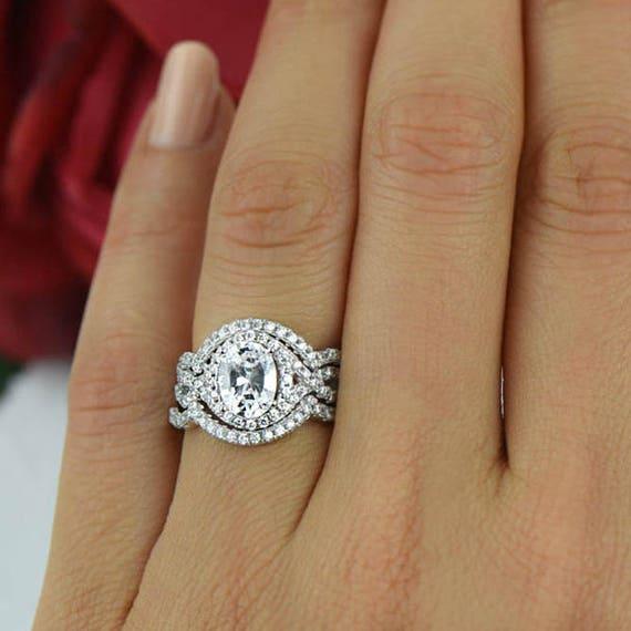 2 ctw three band wedding set oval twisted halo ring engagement ring man - Three Band Wedding Ring