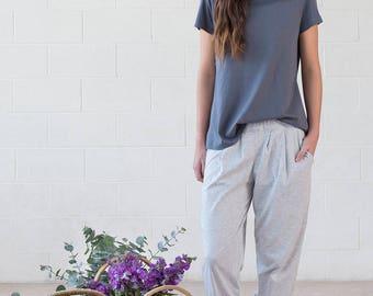 Organic Cotton Grey jersey lounge pants - Paper Daisy Pant