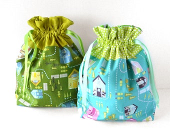 Green Knitting Project Bag Drawstring Bag, Kids Gift Wrap, Reusable Gift Bag, Blue Gift Wrapping, Kids Fabric Bag, Green Toy Storage Bag