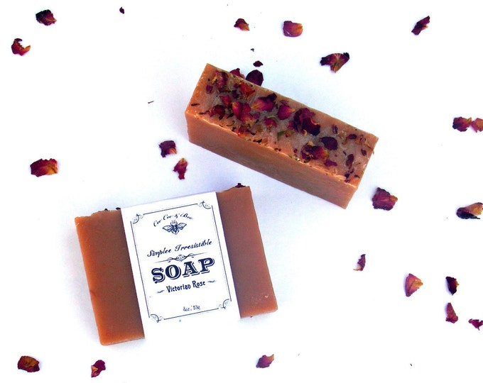 Rose Soap with Cocoa Butter, Simplee Irresistible 4oz - handmade skin softening soap