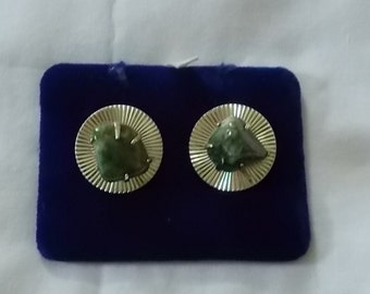 Coro Goldtone Clip Earrings with natural green stones.  (416)