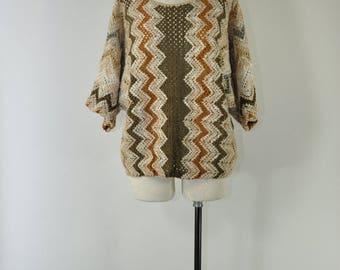 80s open weave sweater / 1980s chevron pullover / oversize colorblock sweater