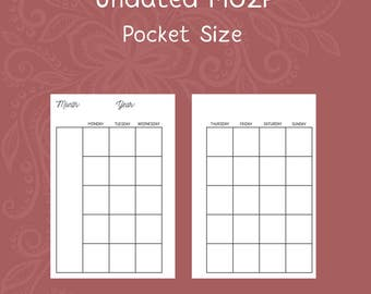 Undated Month on Two Page Pocket Size Planner Inserts [DIGITAL]
