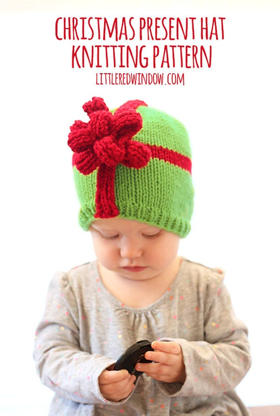 Christmas bow knit baby hat pattern for babies infants sizes 0 3 m