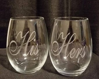 Set of 2 His and Hers Stemless Wine Glasses; Custom Wine Glasses for Weddings, Parties, Special Occasions; Personalized