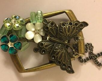 Re-purposed belt buckle butterfly pendant