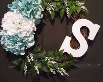 Spring Summer Floral Wreath with Monogram