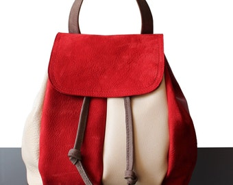 Suede backpack, Red suede backpack, urban backpack, Red leather backpack, Backpack red