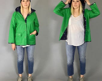 1980s Green Vinyl Hooded Rain Jacket with Whale Print Lining
