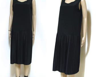 Vintage 80s Black Dress Pleated Skirt Drop Waist Accordian Retro Mid LengthVtg 1980s Size M-L
