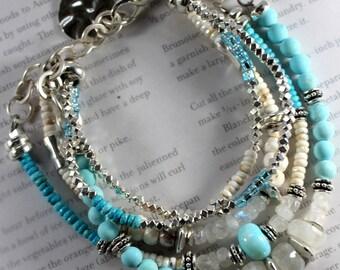 rainbow moonstone bracelet, turquoise bracelet, robin's egg turquoise bracelet, opal bracelet, southwestern bracelet, bohemian bracelet