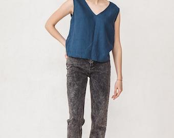 Basic V neck summer linen top, Linen blouse, Navy blue linen top,  Minimal top, Minimal linen blouse, Washed linen blouse, Linen clothes
