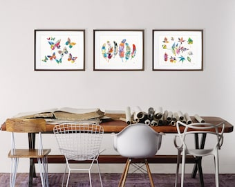 Watercolor Prints - 5x7, 8x10, 11x14 Colorful Art Print Set, Painting of Butterflies, Feathers, Leaves - Nature Wall Decor Home Decor Gifts