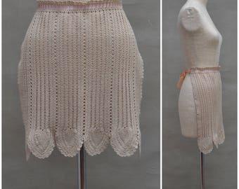 Vintage Apron, 30's / 40's Crochet half apron, ribbon ties, 30's / 40's beige decorative pinnie, Art Deco Hostess apron, WW2 Re enactment