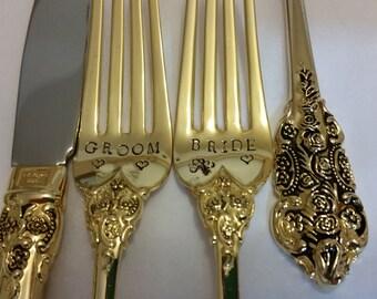 Gold Wedding forks 3pc Hand stamped 2 forks +1 knife 24K Gold Plated flatware Vintage Gatsby wedding cake forks Real photos OOAK Please read