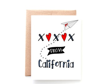 Greetings From California - West Coast Greeting Card - Pacific Coast - Miss You Card - Thinking of You Card