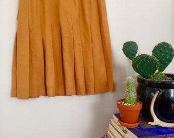 1970s Mustard Yellow Pleated Skirt