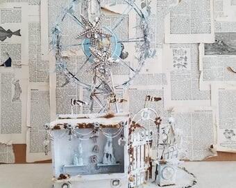 3D Metal Sculpture Art Carnival Ferris Wheel Art Vintage Shabby Chic Home Decor