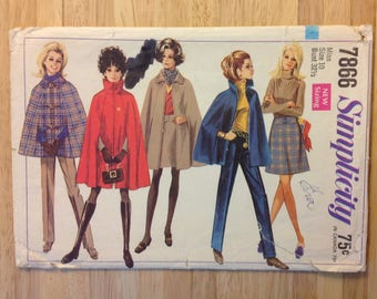 1968 cape, skirt, pants Simplicity 7866 misses' size 10, bust 32-1/2 (new sizing), clothing ensemble pattern,  vintage OOP sewing supply