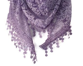 Triangle Scarf , Ladies Purple Scarf with tassel trim , Lace Style Lilac silver glitter Scarf