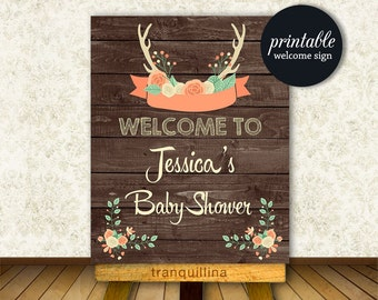 Welcome sign Baby Shower, Woodland Baby Shower Welcome Sign Printable, Rustic Baby Shower Sign, Woodland Birthday Welcome Sign, DIGITAL
