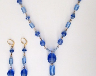 Vintage Blue Crystal Necklace & Earrings Jewelry Set