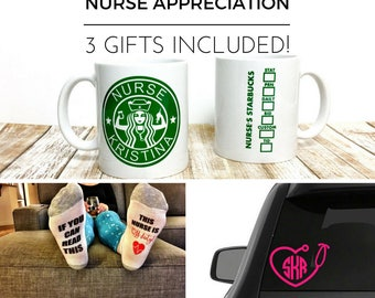 nurse appreciation gift set // nurse gift // nurse cup // gift for nurse // personalized nurse gift // nursing school // starbucks // nurse